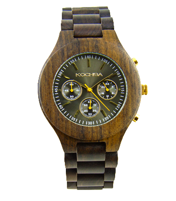 Charcoal Triple dial sandalwood Lomond Wood watch face