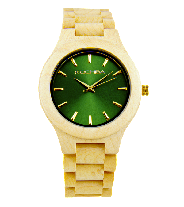 Royal Green Laro Maple Wood watch face