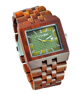 Mens Baymore Red Sandal Wood watch front