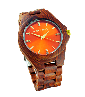 Scarlet Orange red sandalwood Laro Wood watch front