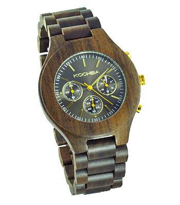 Charcoal Triple dial sandalwood Lomond Wood watch front