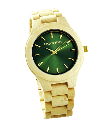 Royal Green Laro Maple Wood watch front