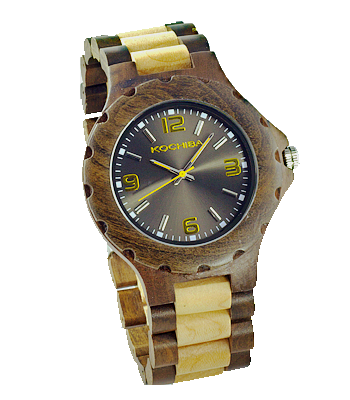 Charcoal Maple and sandalwood Torrin Wood Watch front