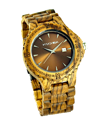 Chocolate face Zebrawood Tiree Wood Watch front