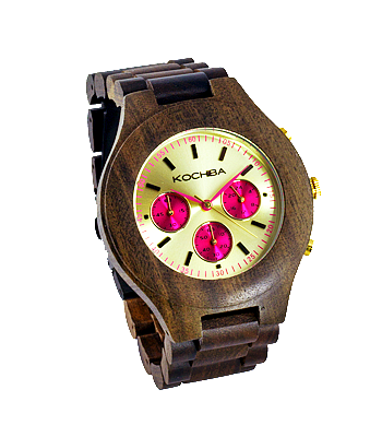 Hot Pink Triple dial sandalwood Lomond Wood watch front