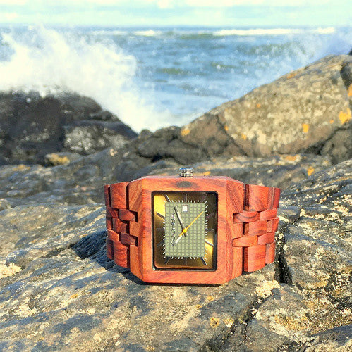 The Baymore - Leaf Green on Red Sandalwood
