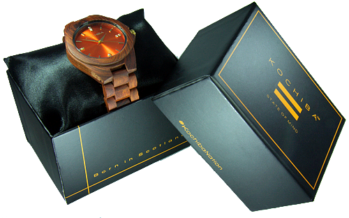 Scarlet Orange red sandalwood Laro Wood watch boxed