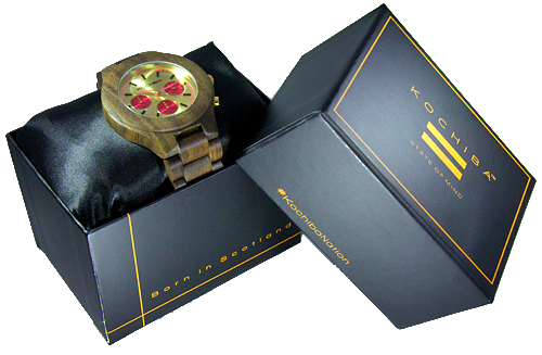Hot Pink Triple dial sandalwood Lomond Wood watch boxed