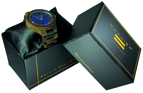 Egyptian Blue Laro sandal Wood watch boxed