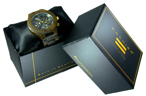 Charcoal Triple dial sandalwood Lomond Wood watch boxed