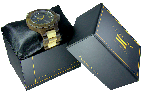 Charcoal Maple and sandalwood Torrin Wood Watch boxed