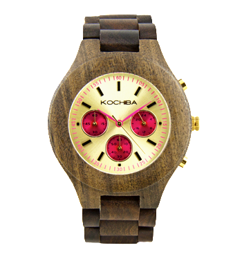 Hot Pink Triple dial sandalwood Lomond Wood watch face