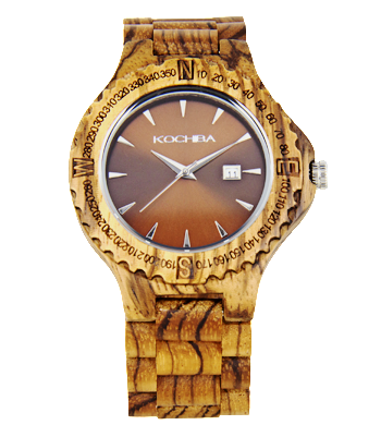 Chocolate face Zebrawood Tiree Wood Watch face