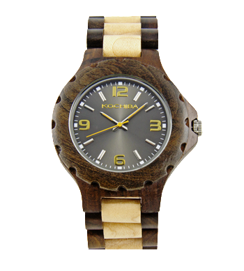 Charcoal Maple and sandalwood Torrin Wood Watch face