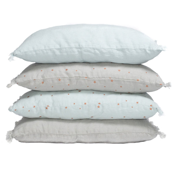 Fringe linen cushion cover. Light blue, stars