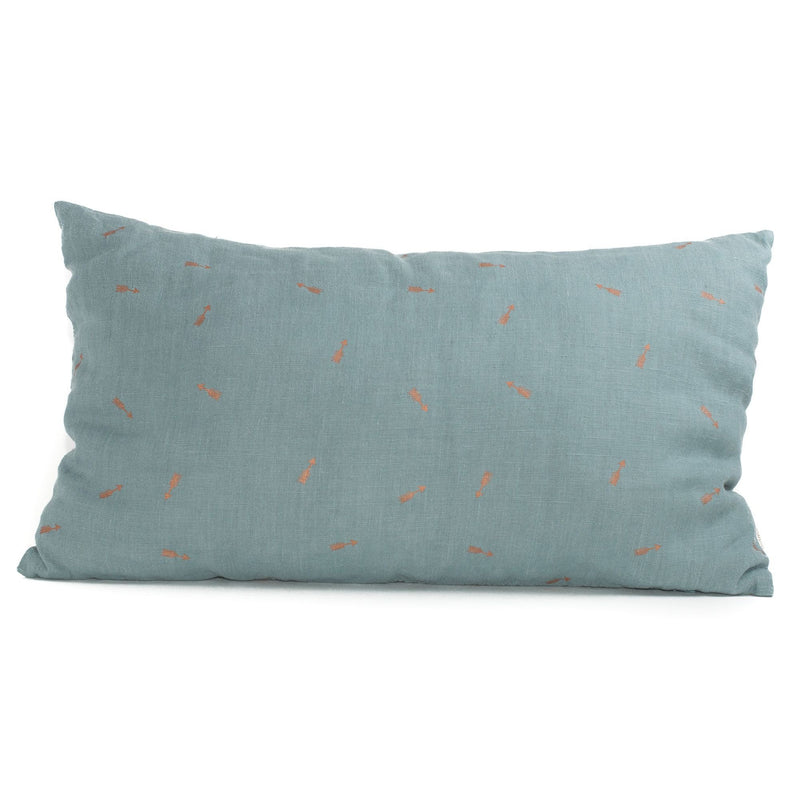 Linen Cushion, arrows blue lagoon
