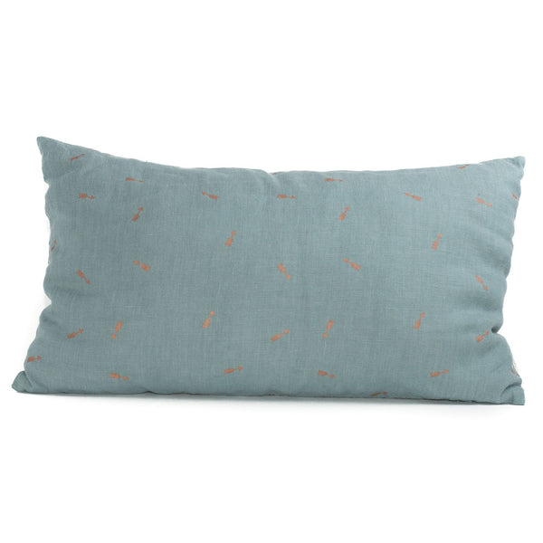 Minimuhuu • Linen Cushion, arrows blue lagoon • m_op.cushionarrow