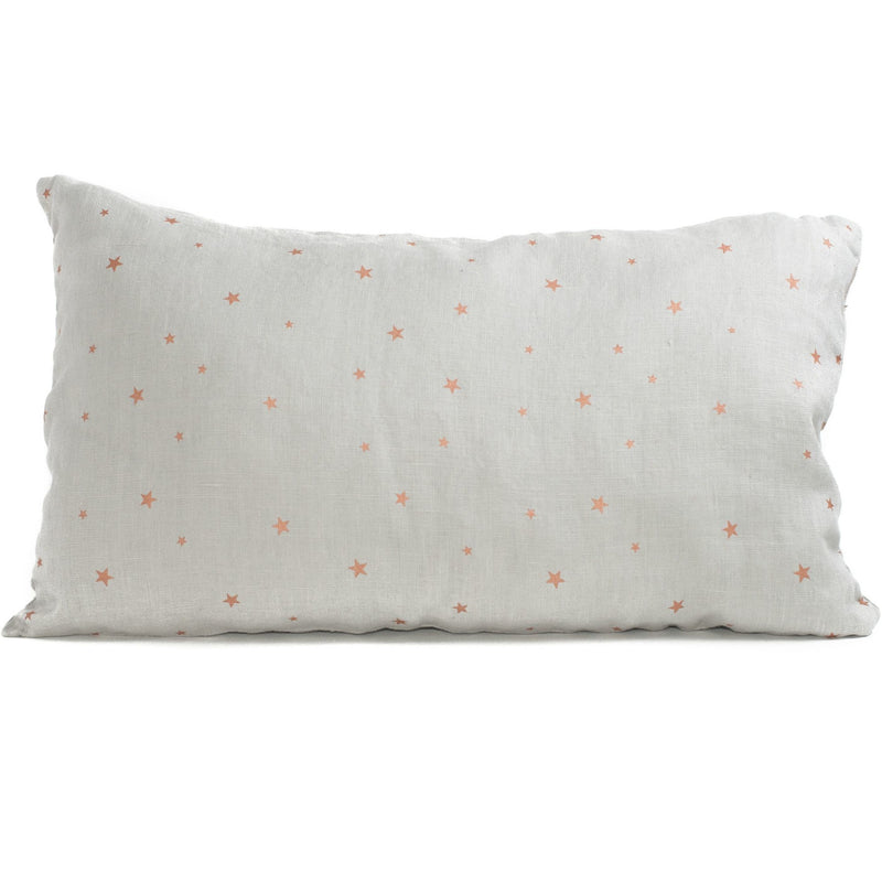 Organic linen Cushion, stars pearl grey