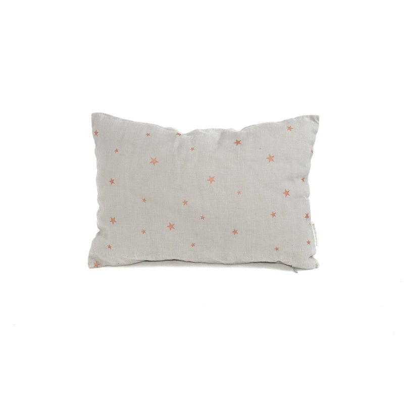 Linen travel Cushion, stars pearl grey