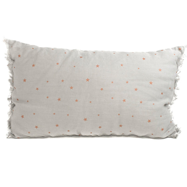 Minimuhuu • Linen Cushion, pearl grey stars • frontpage, m_op.cushionfringues