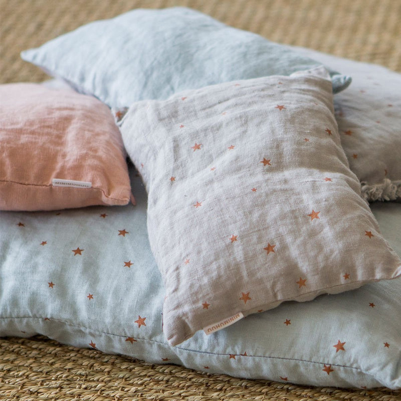 Linen Cushion, pearl grey stars