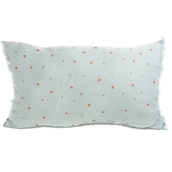 Minimuhuu • Linen cushion, blue light stars • frontpage, m_op.cushionfringues
