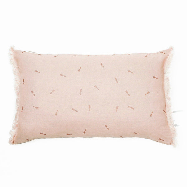 Minimuhuu • Linen cushion, sunset pink • frontpage, m_op.cushionfringues