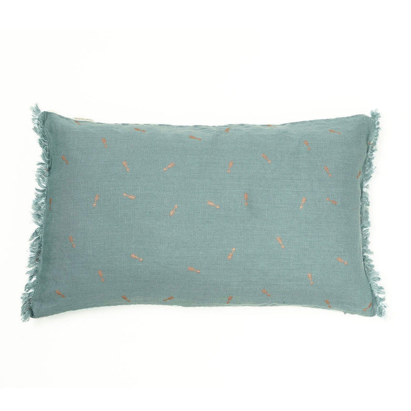 Linen Cushion blue with fringes
