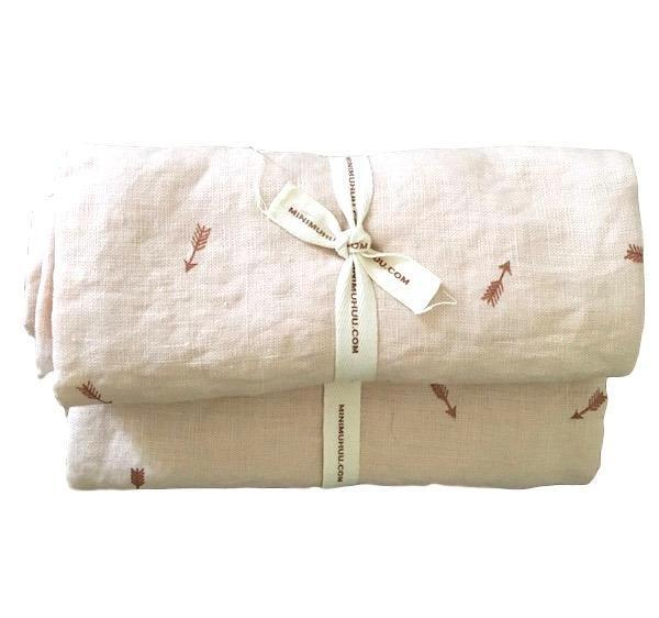 Minimuhuu • Linen crib sheet, blush. 2 sizes. • baby, frontpage, m_op.babysheet