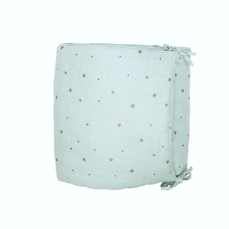 Linen crib Bumper, stars blue light