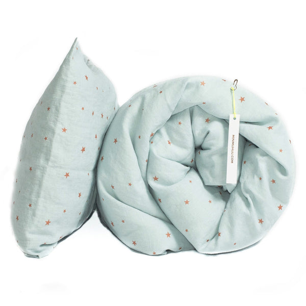 minimuhuu • Duvet cover, stars blue light • m_op.bedsetstar, m_op.toddlebedsetstar