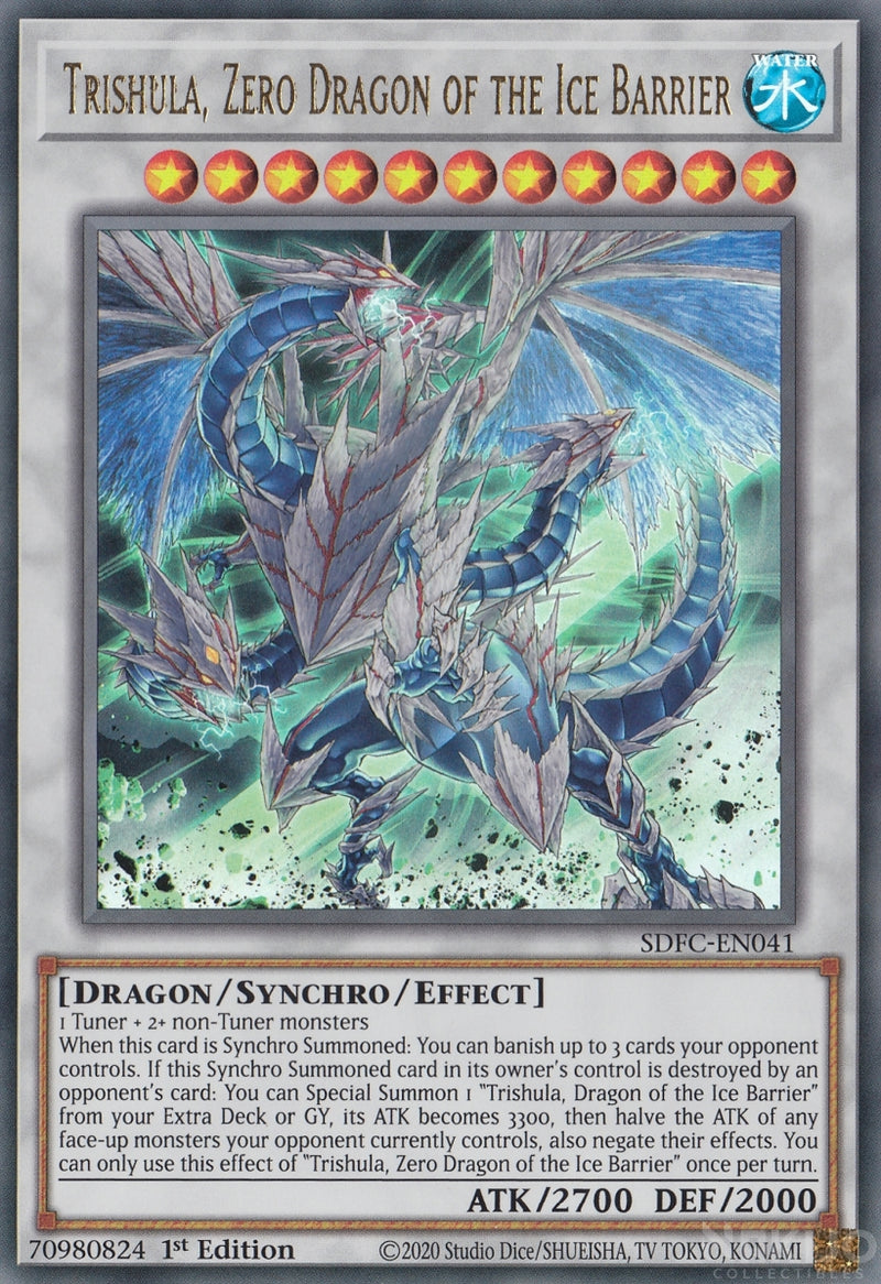 Trishula, Zero Dragon of the Ice Barrier - SDFC-EN041 - Ultra Rare - 1st Edition