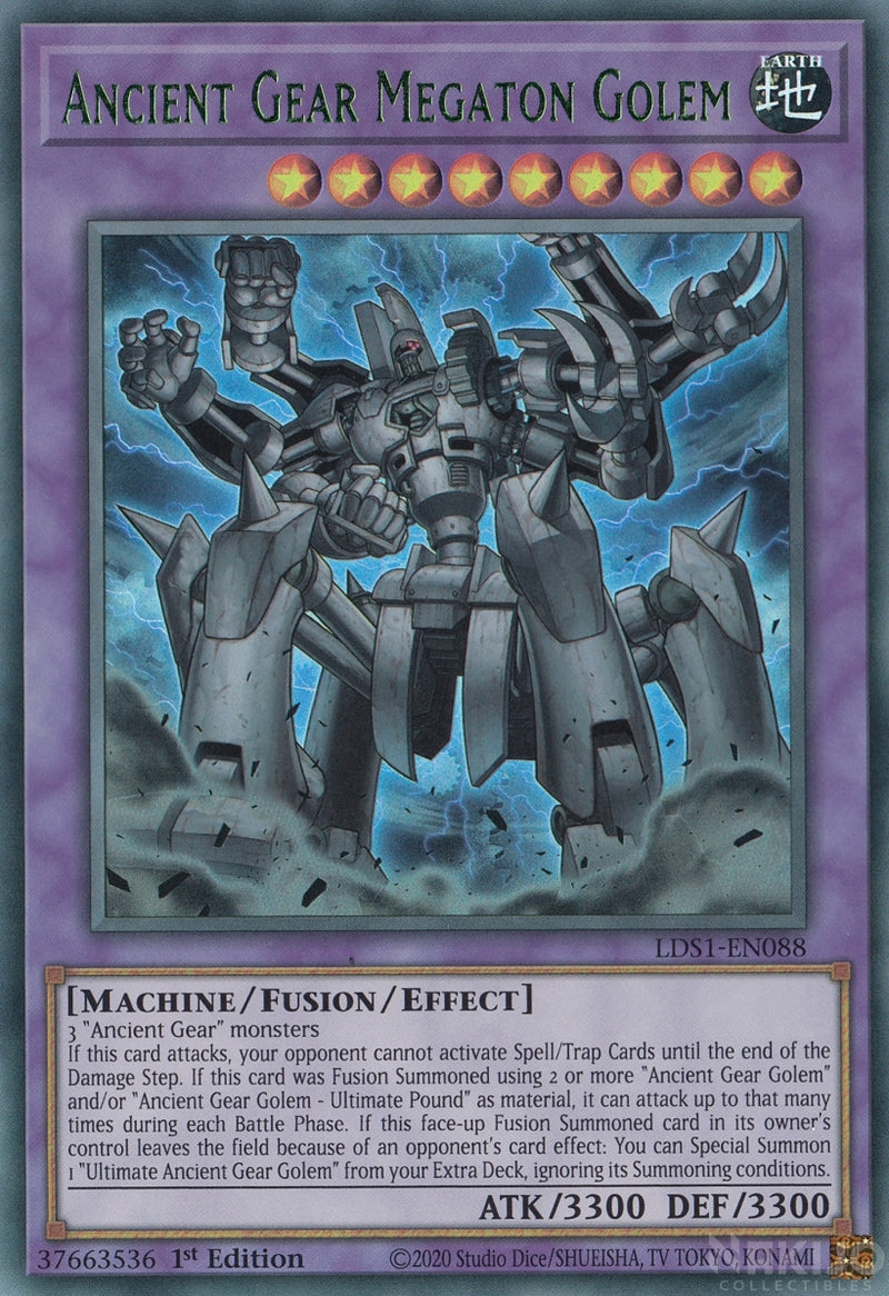 Ancient Gear Megaton Golem - LDS1-EN088 - Green Ultra Rare - 1st Edition