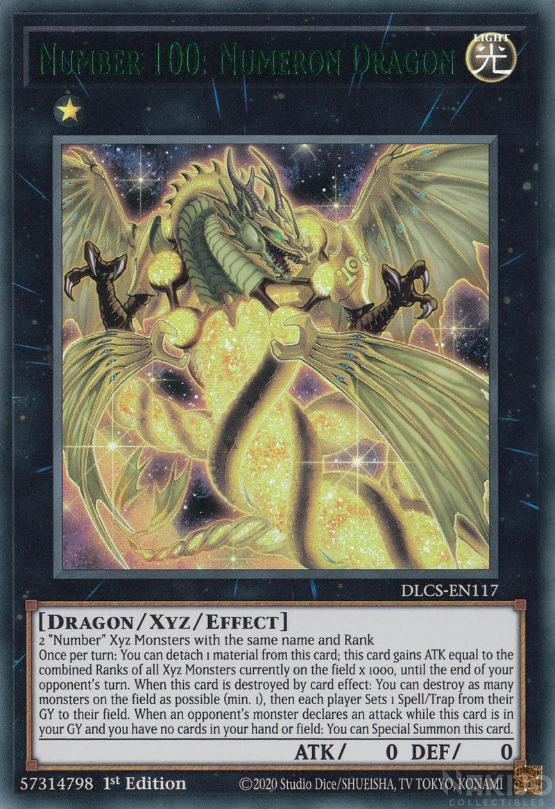 Number 100: Numeron Dragon - DLCS-EN117 - Green Ultra Rare - 1st Edition