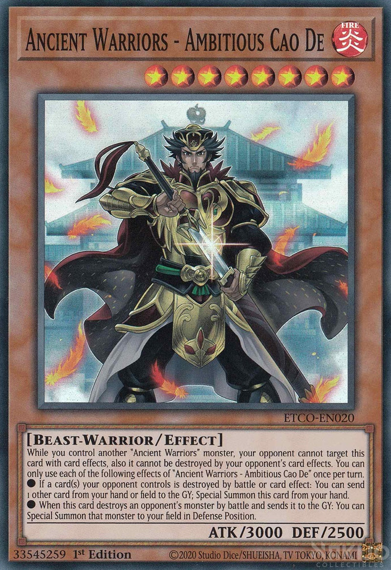 Ancient Warriors - Ambitious Cao De - ETCO-EN020 - Super Rare - 1st Edition