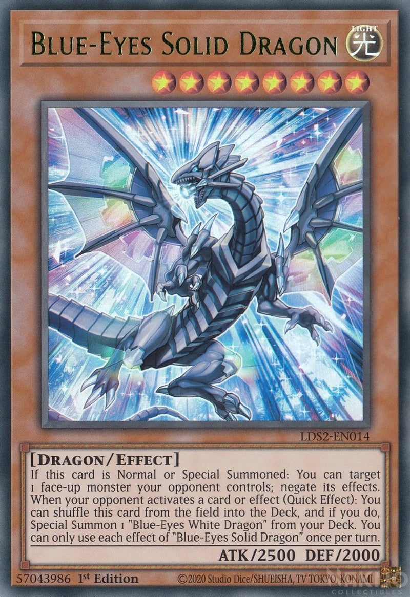 Blue-Eyes Solid Dragon - LDS2-EN014 - Green Ultra Rare - 1st Edition