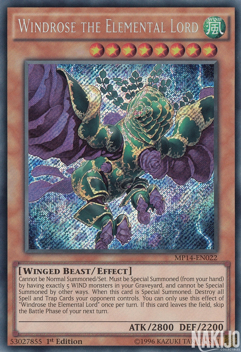 Windrose the Elemental Lord - MP14-EN022 - Secret Rare - 1st Edition