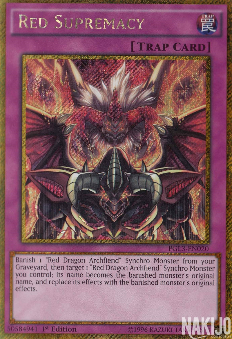 Red Supremacy - PGL3-EN020 - Gold Secret Rare - 1st Edition
