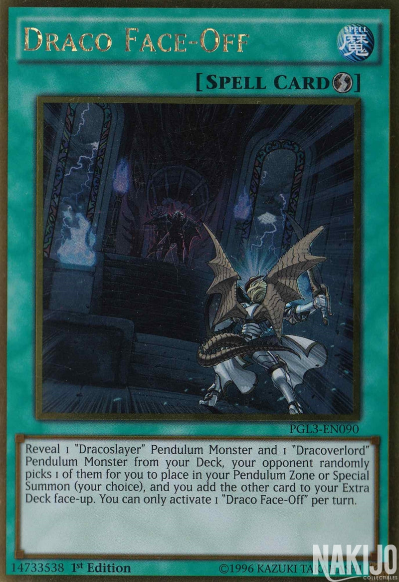 Draco Face-Off - PGL3-EN090 - Gold Rare - 1st Edition