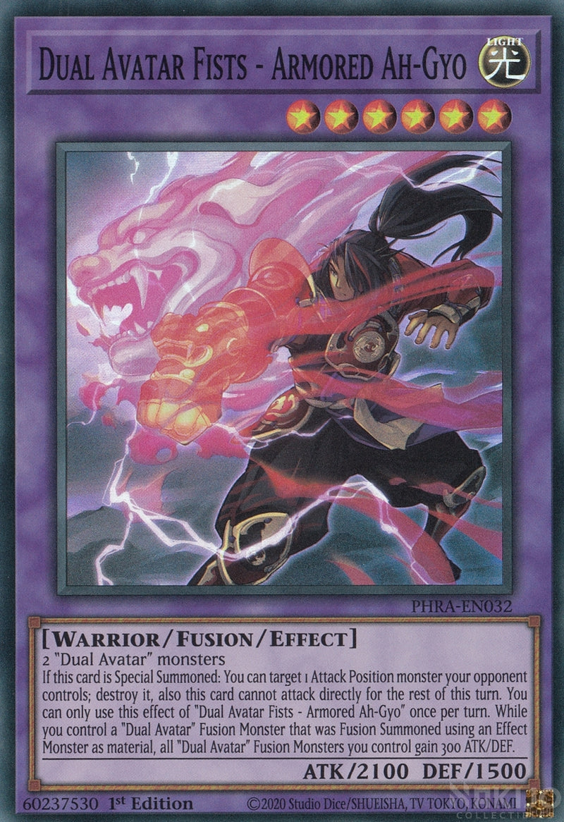 Dual Avatar Fists - Armored Ah-Gyo - PHRA-EN032 - Super Rare - 1st Edition