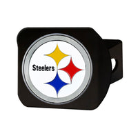 "Pittsburgh Steelers Heavy Duty 3-D Color Emblem Black Metal Hitch Cover 2"" - Van Kam Truck & Trailer"