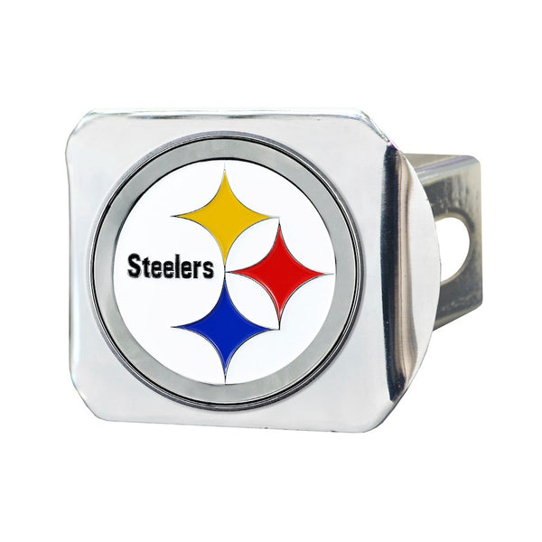 "Pittsburgh Steelers Heavy Duty 3-D Color Emblem chrome Metal Hitch Cover 2"" - Van Kam Truck & Trailer"
