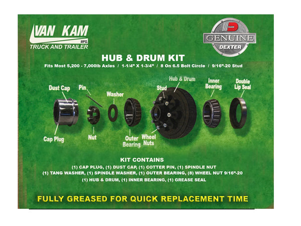 "Hub&Drum 5.2K-7K, 8 On 6.5, 1 1/4""-1 3/4"" Bearings, 9/16-20 Studs, Dexter"