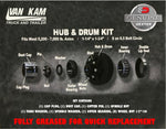 "Hub&Drum 5.2K-7K, 8 On 6.5, 1 1/4""-1 3/4"" Bearings, 1/2-20 Studs, Dexter"