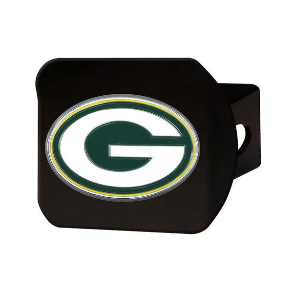 "Green Bay Packers Heavy Duty 3-D Color Emblem Black Metal Hitch Cover 2"" - Van Kam Truck & Trailer"
