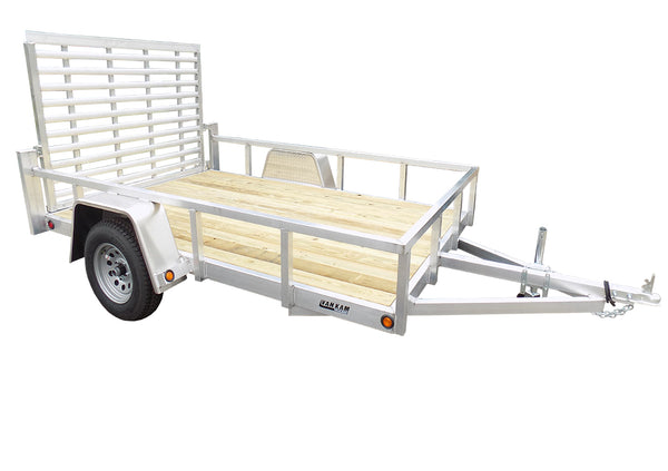 6.5 X 10 Aluminum Utility Trailer SA w/ 3-side rail & 4' Ramp Gate - Van Kam Truck & Trailer