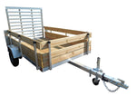 "5 X 8'4""Aluminum Utility Trailer w/ 3-Board Wood Rack & 4' Removable Ramp Gate - Van Kam Truck & Trailer"