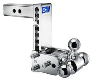 "B&W Tow & Stow TS20049C Chrome 7"" Adjustable Tri-Ball Ball Mount for 2-1/2"" Receivers"