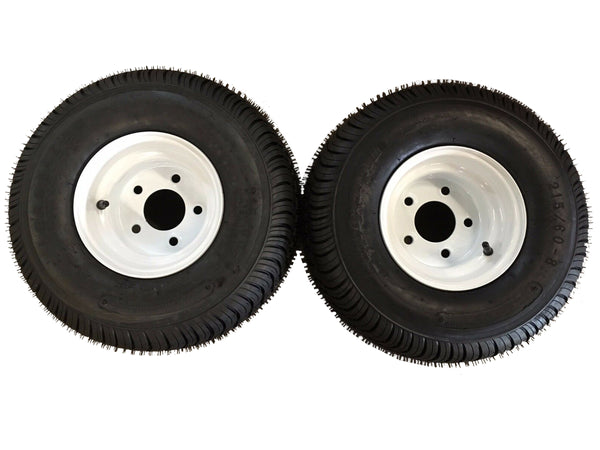 18.5 X 8.5 - 8 (215/60-8) Snowmobile trailer tire & wheel -TRITON 1pr WHITE