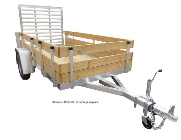5 X 10 Aluminum HD Utility Trailer w/ 3-Board Wood Rack & 4' Ramp Gate
